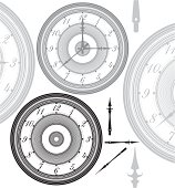 Vector illustration of adjustable, vintage clock with separated hands