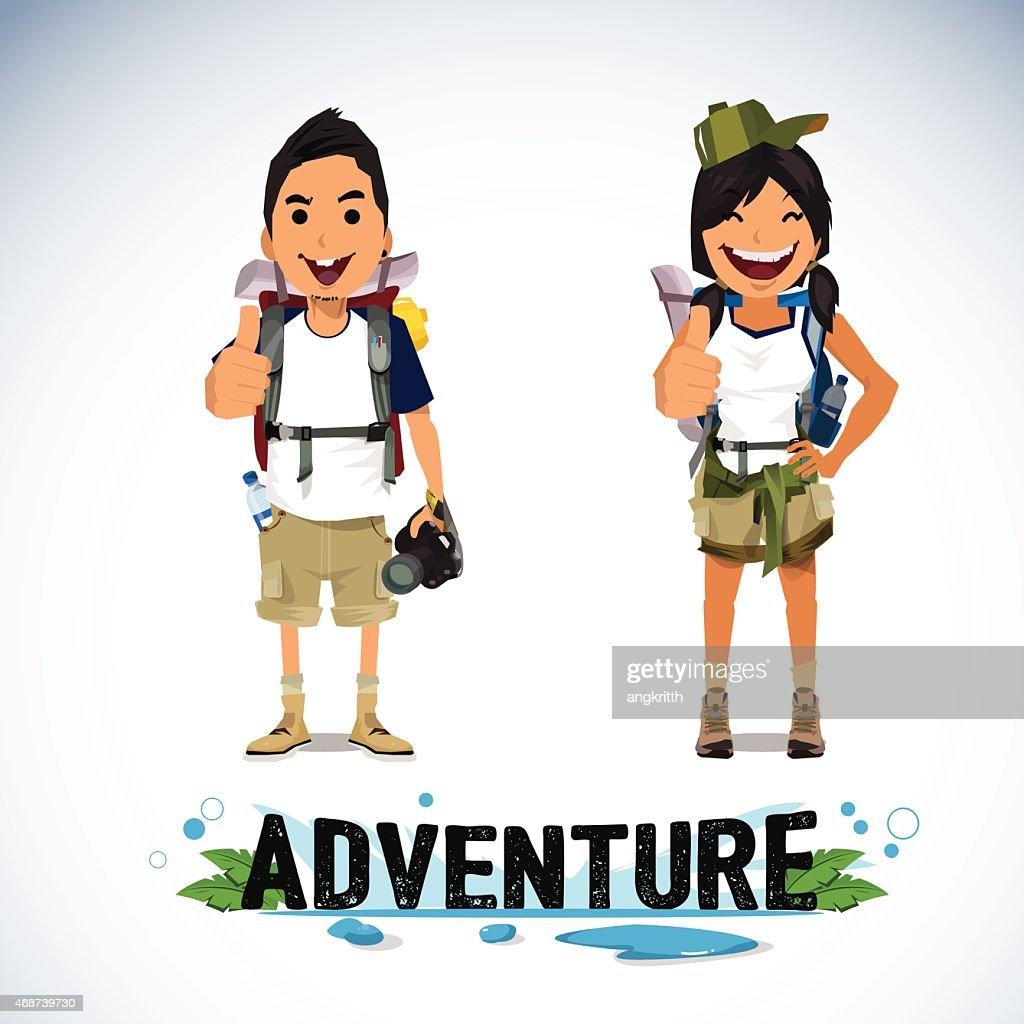 vector illustration of adventure tourism - boy and girl