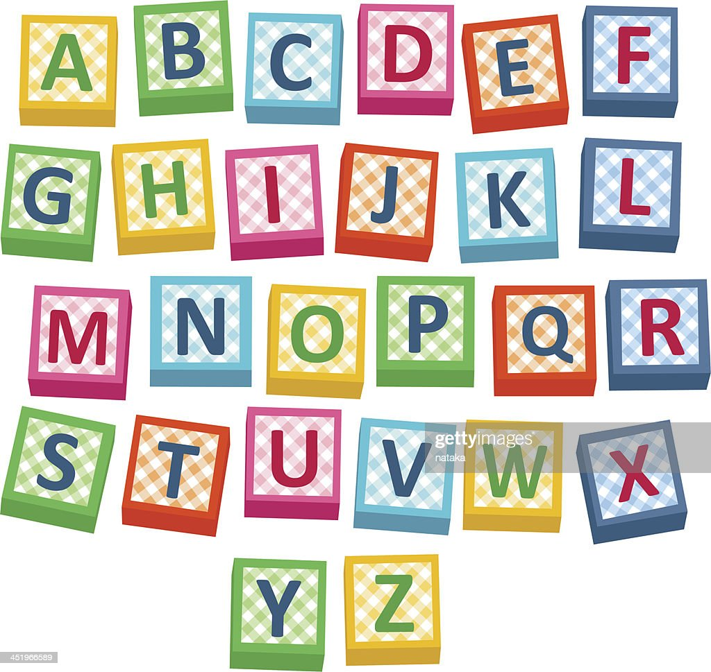 Vector illustration of alphabet blocks against white