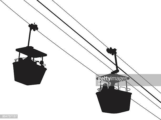 vector illustration of an aerial tram silhouette with two gondolas - steel cable stock illustrations, clip art, cartoons, & icons