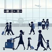 Vector illustration of an airport scene