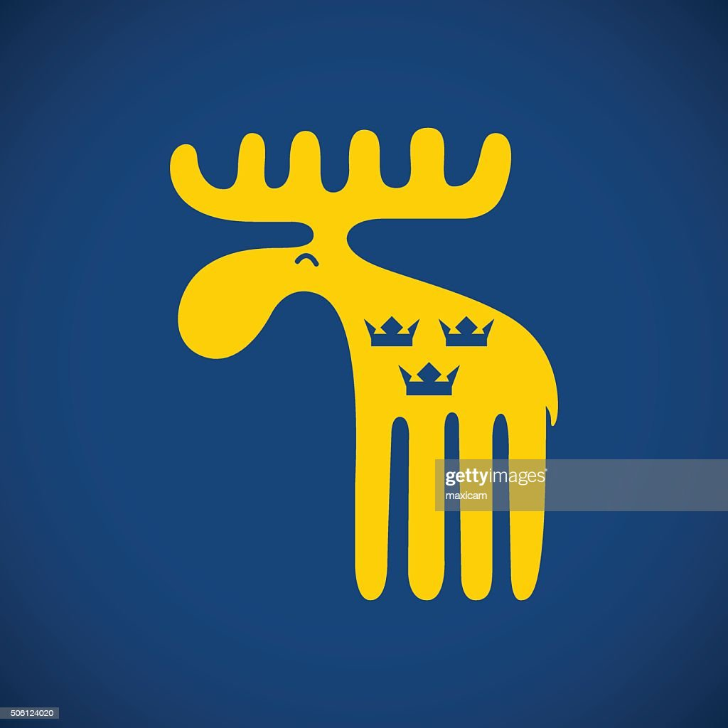 Vector illustration of an animal symbol of Sweden yellow swedish