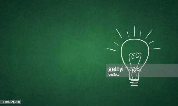 vector illustration of an ignited light bulb on a grungy green colored blackboard - ideas stock illustrations