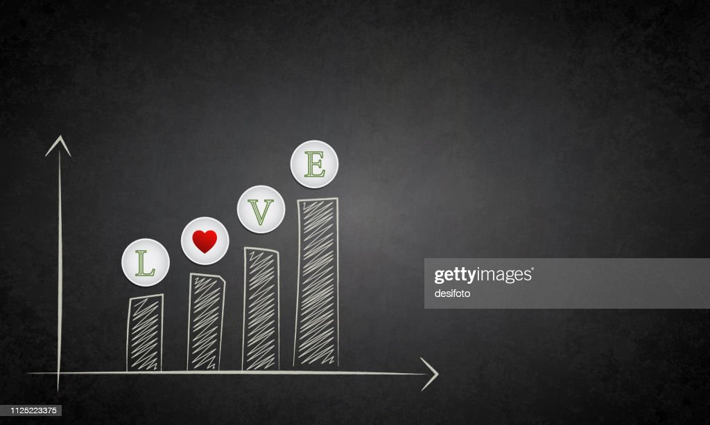 Vector illustration of  an increasing Love bar graph over a  grunge effect blackboard with copy space for text