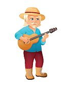 vector illustration of an old active man with long hair, mustache and beard, who is dressed in a shirt and hat. He is standing and playing the guitar.