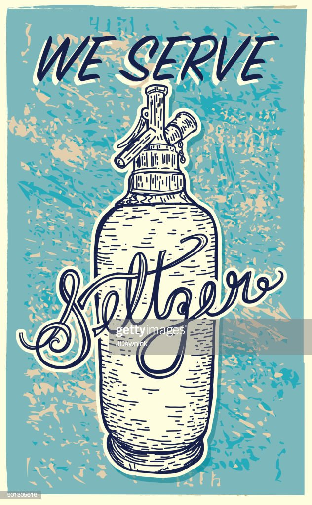 Vector illustration of an old fashioned Seltzer sparkling water bottle : stock illustration