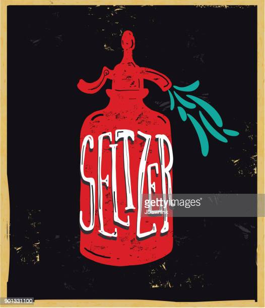 vector illustration of an old fashioned seltzer sparkling water bottle - carbonated stock illustrations, clip art, cartoons, & icons