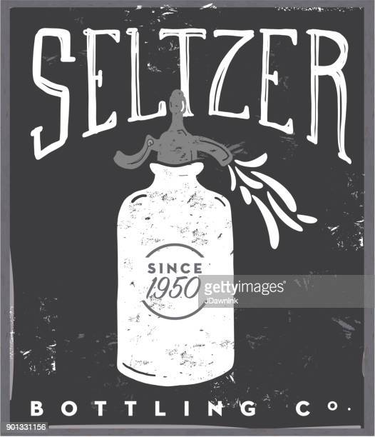 Vector illustration of an old fashioned Seltzer sparkling water bottle