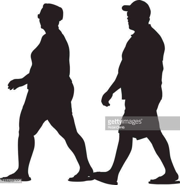 vector illustration of an overweight couple walking together. - unhealthy living stock illustrations, clip art, cartoons, & icons