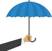 Vector illustration of an umbrella in hand