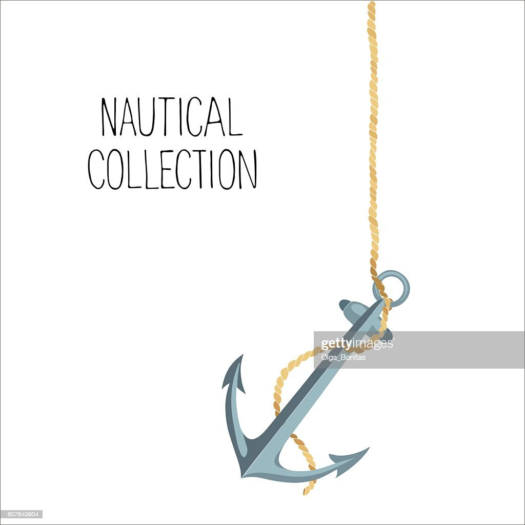 Vector illustration of anchor and rope