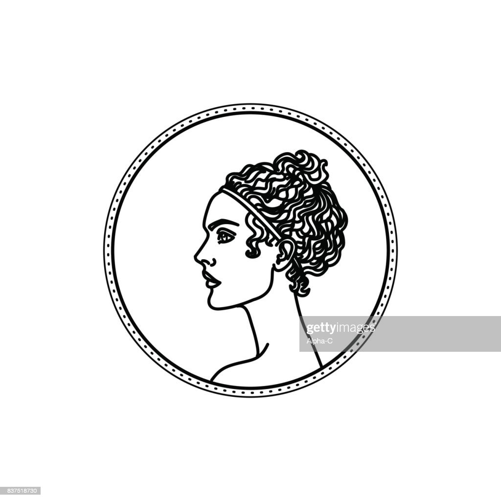 Vector illustration of ancient greek hair style