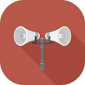 A vector illustration of Announcement Speakers Flat Icon.