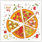Vector illustration of appetizing pizza slices with different toppings . Colorful and tasty.