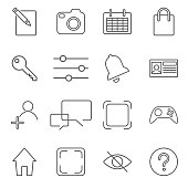 Vector illustration of apps icon set over linen texture