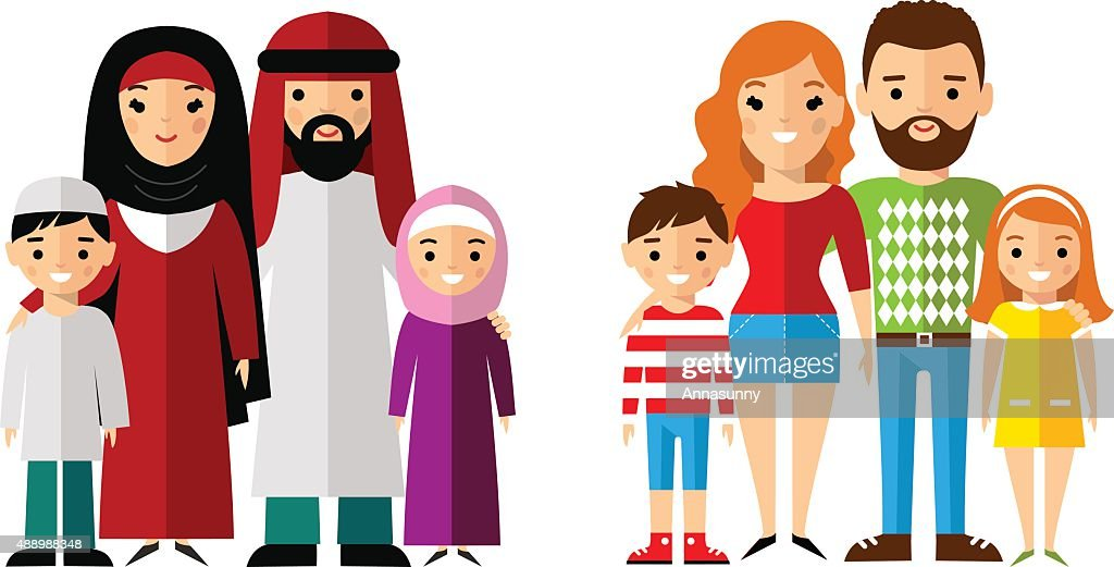 Vector illustration of arab and european families
