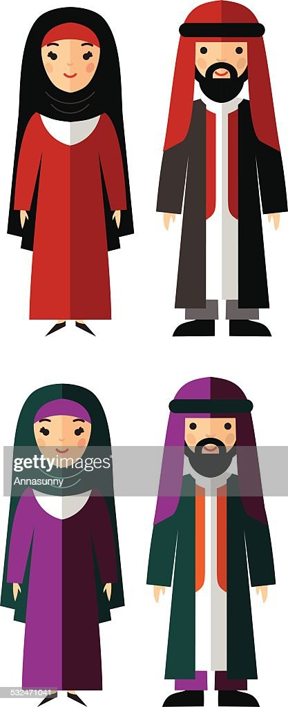 Vector illustration of arab male and female
