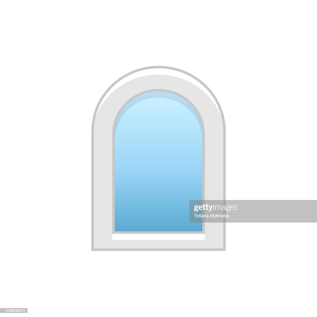 Vector illustration of arc vinyl casement window. Flat icon of traditional aluminum arched window. Isolated object on white background.