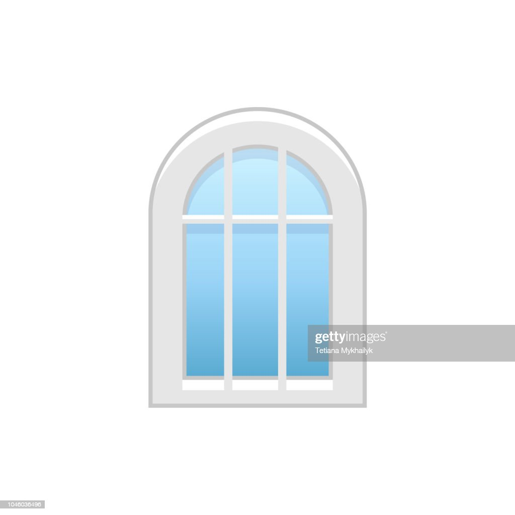 Vector illustration of arc vinyl casement window. Flat icon of traditional aluminum arched window with decorative bars. Isolated on white background.