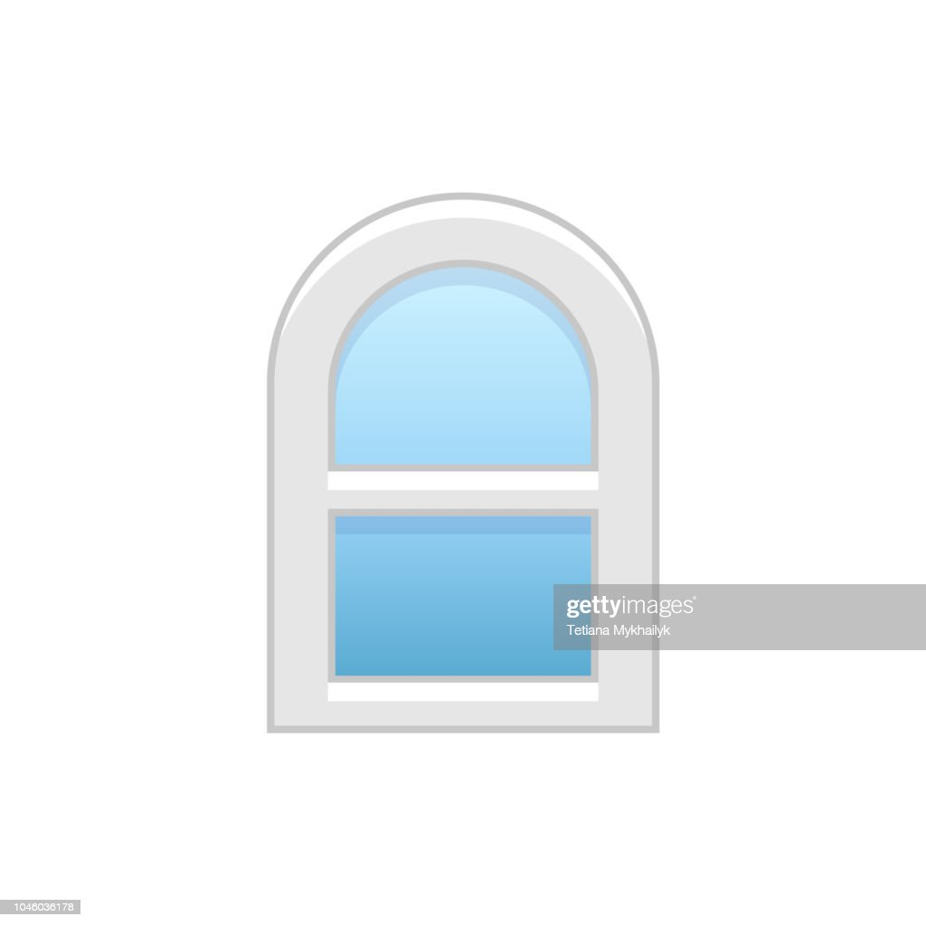 Vector illustration of arc vinyl single-hung sash window. Flat icon of traditional aluminum arched window with sliding panels. Isolated on white background.