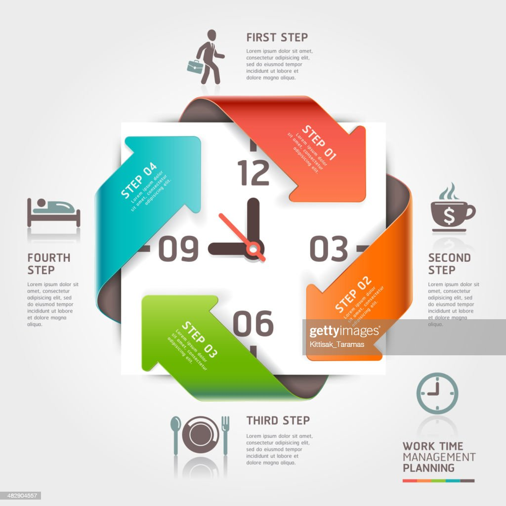 Vector illustration of arrows and time management