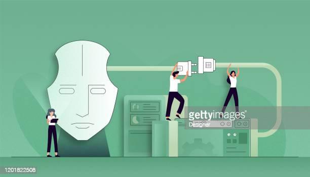 ilustraciones, imágenes clip art, dibujos animados e iconos de stock de ilustración vectorial del concepto de inteligencia artificial. flat modern design for web page, banner, presentation, etc. - falso