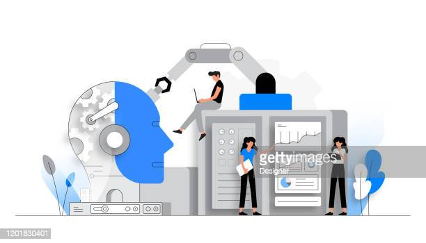 vector illustration of artificial intelligence concept. flat modern design for web page, banner, presentation etc. - artificial intelligence stock illustrations