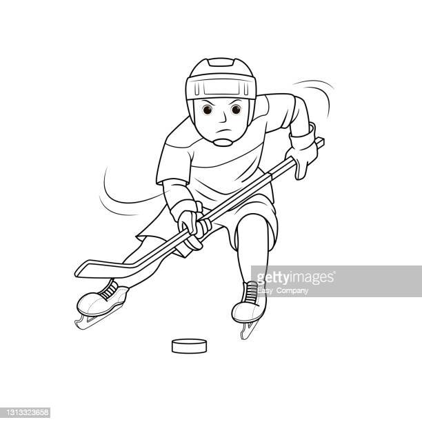 vector illustration of athlete team player in ice hockey game isolated on white background. kids coloring page, drawing, art, first word, flash card. color cartoon character clipart. - ice hockey glove stock illustrations