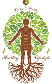 Vector illustration of athletic man depicted as continuation of tree with roots. Strong heart is good health, wellness center abstraction.