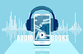Vector illustration of audio books concept