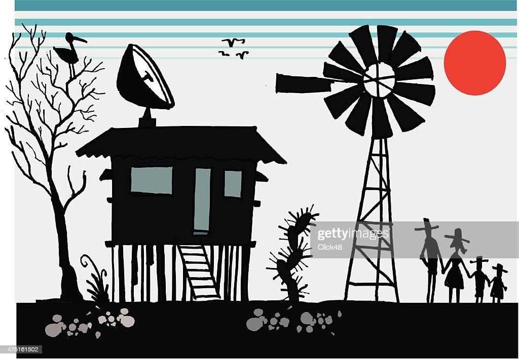 Vector illustration of Australian outback scene