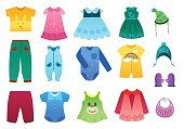 Vector illustration of baby and children kids clothes collection. Cartoon vector illustration.