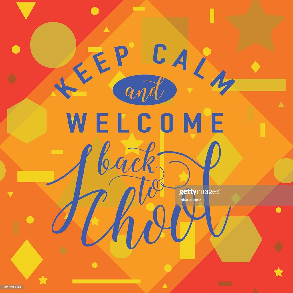 Vector illustration of back to school greeting card with lettering