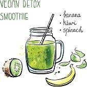 Vector illustration of banana kiwi smoothie