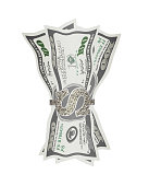 Vector illustration of banknotes folded in money clip.