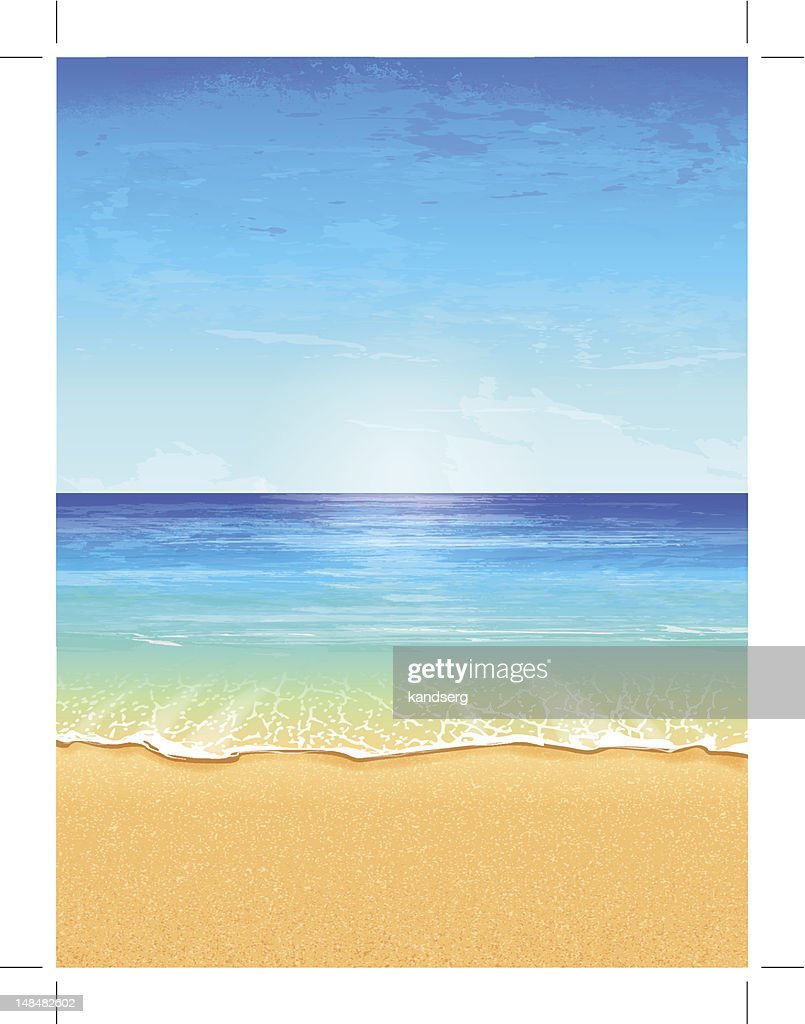 Vector illustration of beach paradise with effects