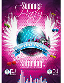 Vector illustration of beach party poster