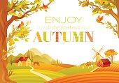Vector illustration of beautiful autumn landscape on white background