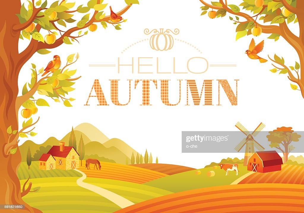 Vector illustration of beautiful autumn landscape on white background