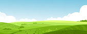 Vector illustration of beautiful summer fields landscape with a dawn, green hills, bright color blue sky, country background in flat cartoon style banner.