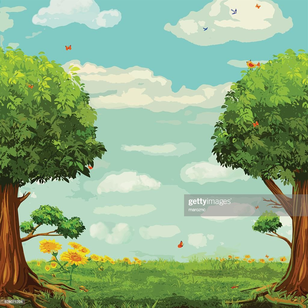 Vector illustration of  beautiful woodland scene with trees and sky