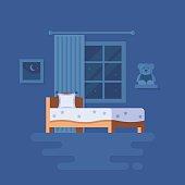 Vector illustration of bedroom interior.