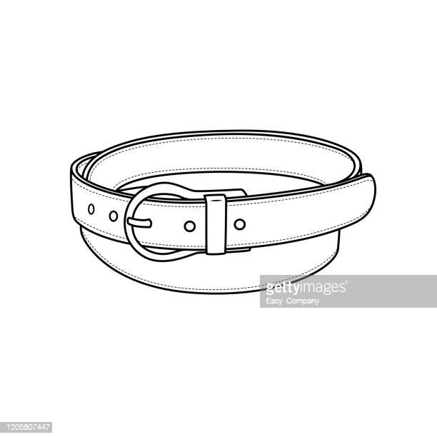 vector illustration of belt isolated on white background for kids coloring book. - waistband stock illustrations