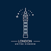 Vector Illustration of Big Ben Tower, London. Line art icon of Great Britain landmark.