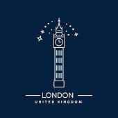 Vector Illustration of Big Ben Tower, London. Line art icon of Great Britain landmark.