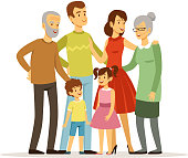 Vector illustration of big family with mother, father, grandmother and grandfather. Smiling peoples standing at action poses