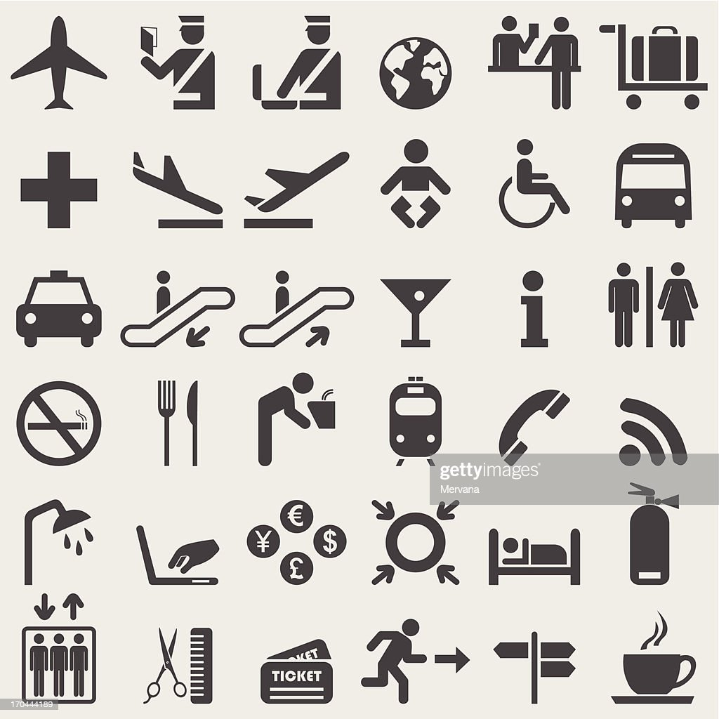 Vector illustration of black airport icons