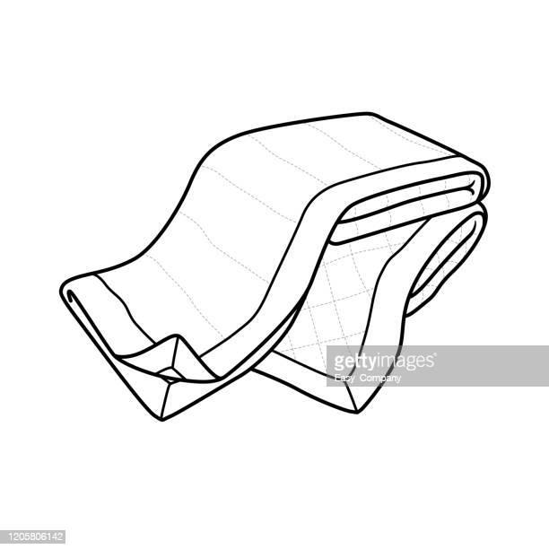 vector illustration of black and white blanket for children coloring isolated on white background. - blanket stock illustrations