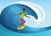 Vector illustration of black cheerful man riding surfboard in ocean waves.
