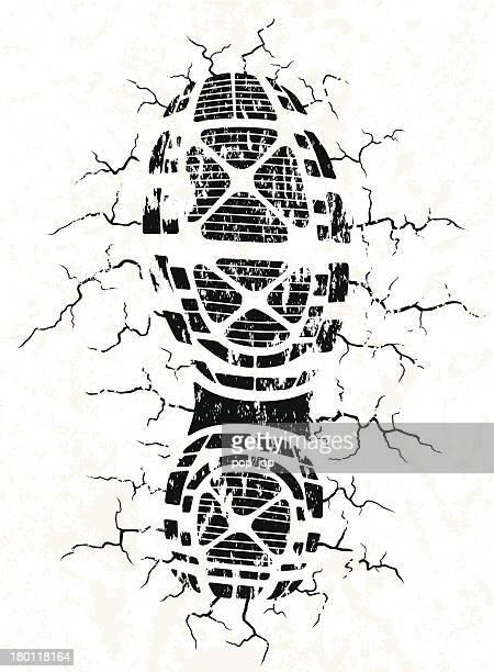 Vector illustration of black shoe track and cracks